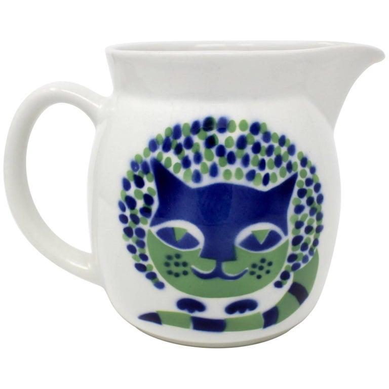 1960s Kaj Franck Ceramic Cat Pitcher for Arabia, Finland