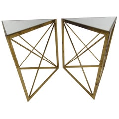 Pair of Solid Brass Midcentury Classic Triangle Tables