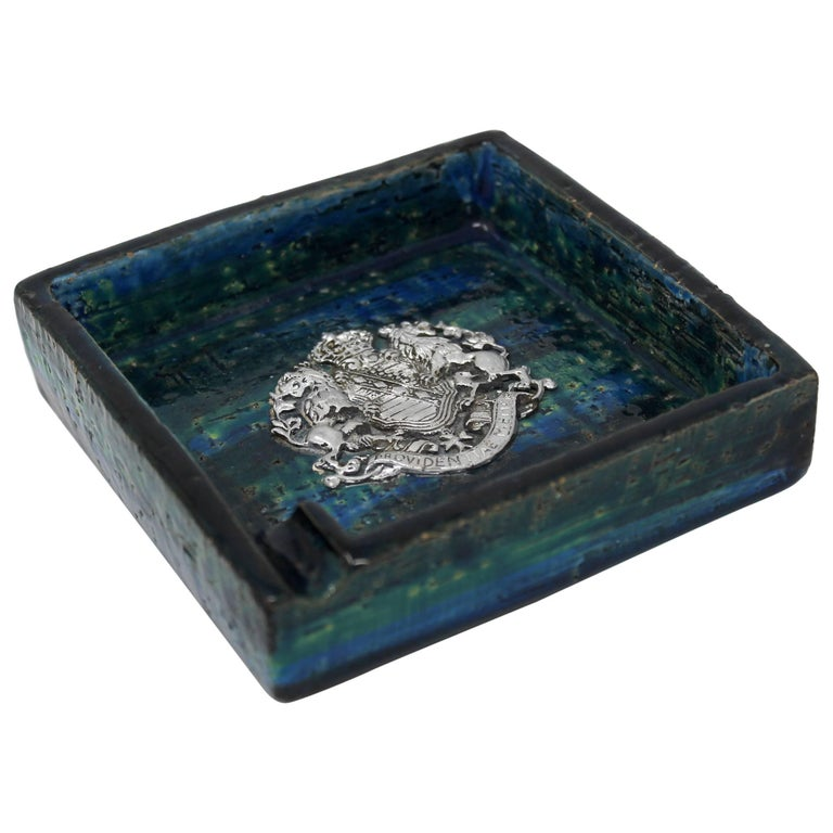 1960s Bitossi Ceramic Blue Ashtray with Emblem by Rosenthal Netter, Italy