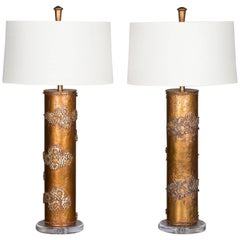 Pair of Vintage Marbro Wallpaper Cylinder Lamps USA, circa 1960
