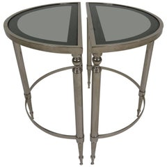 Matching Pair of Nickel-Plated Demilune Tables