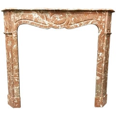 Antique French Louis XVI Pompadour Style Marble Fireplace Surround