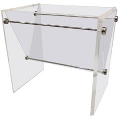 1970s Space Age Polished Lucite and Chrome Magazine Rack