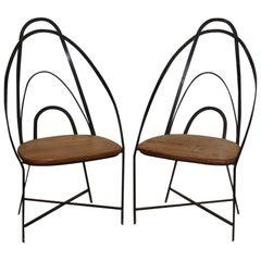 Mid Century French Handmade Iron Chairs