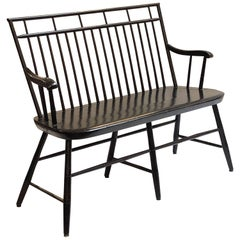 American Spindle Back Settee or Seating Bench of Painted Wood
