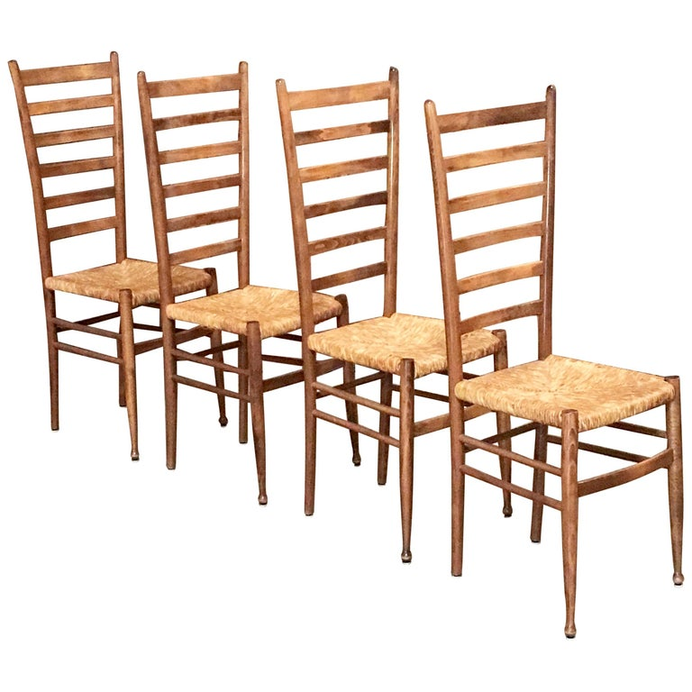 Set of Four Italian Ladder Back Chairs in the Style of Gio Ponti