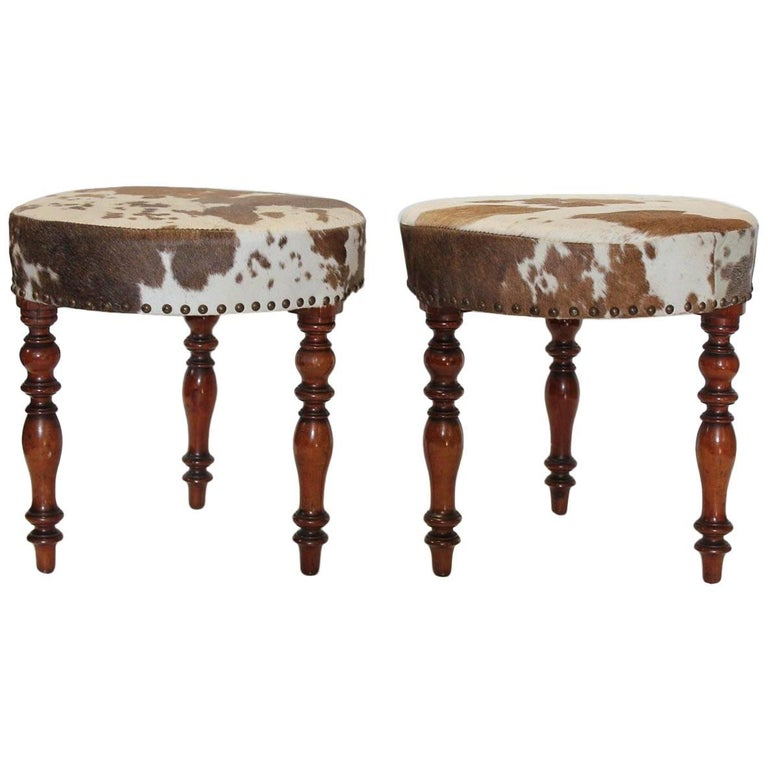 Antique English Cowhide and Wood Stools