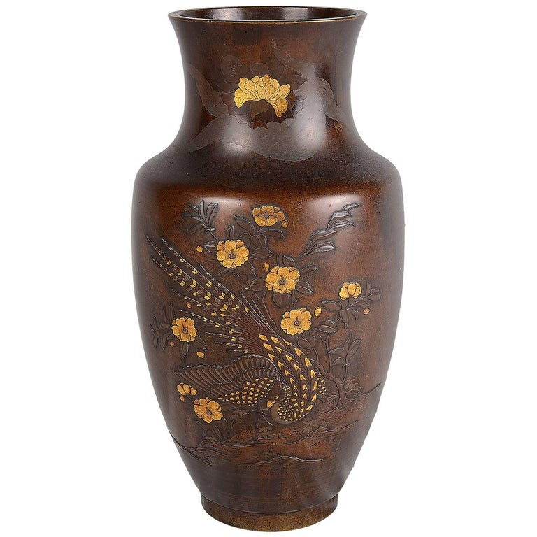 Meiji Period Japanese Bronze And Gilded Vase For Sale At 1stdibs