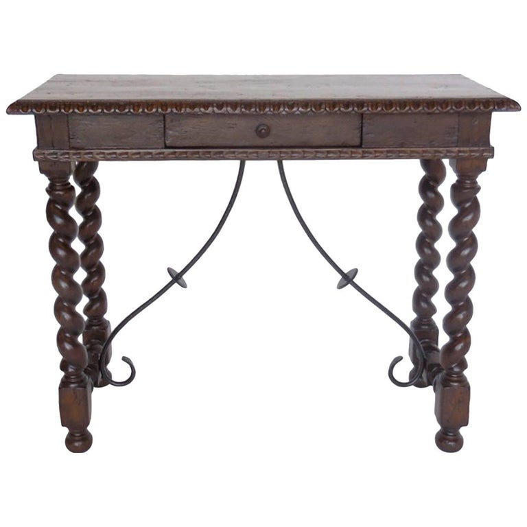 Custom Hand-Carved Walnut Writing Desk with Pencil Drawer