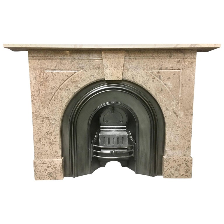 Antique Late Victorian Arched Marble Fireplace Surround