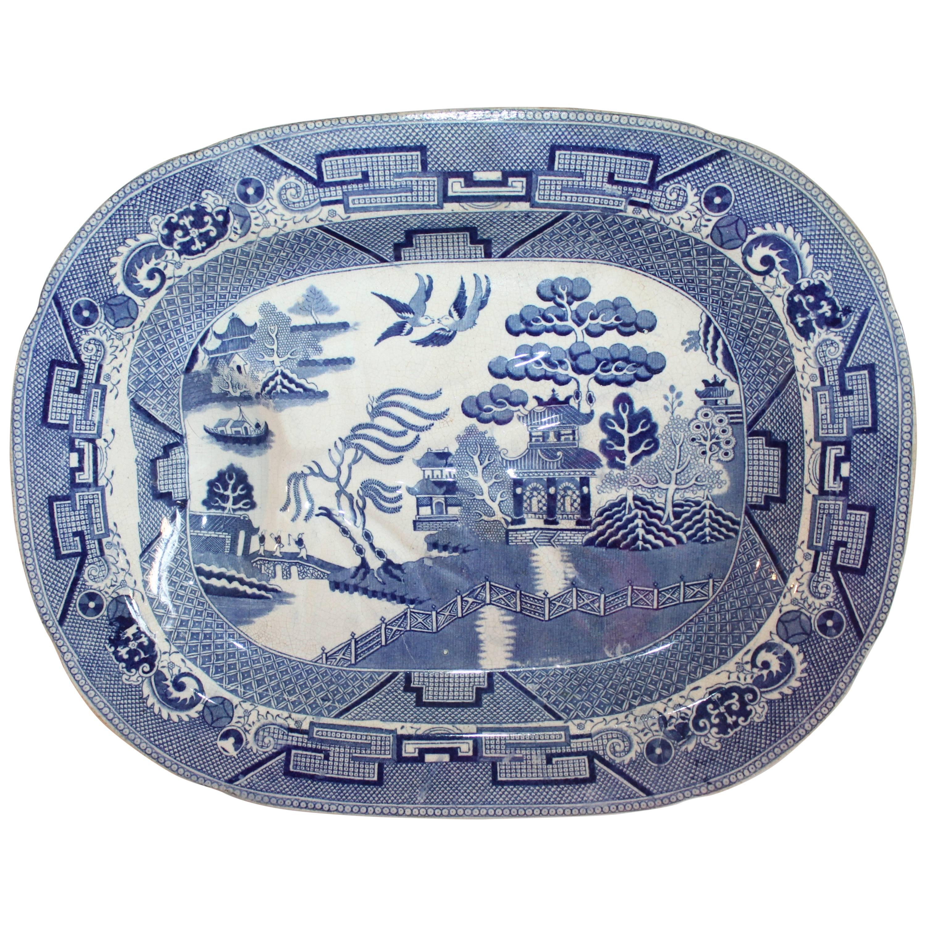 English Blue Willow 19th Century Meat Platter Monumental Size