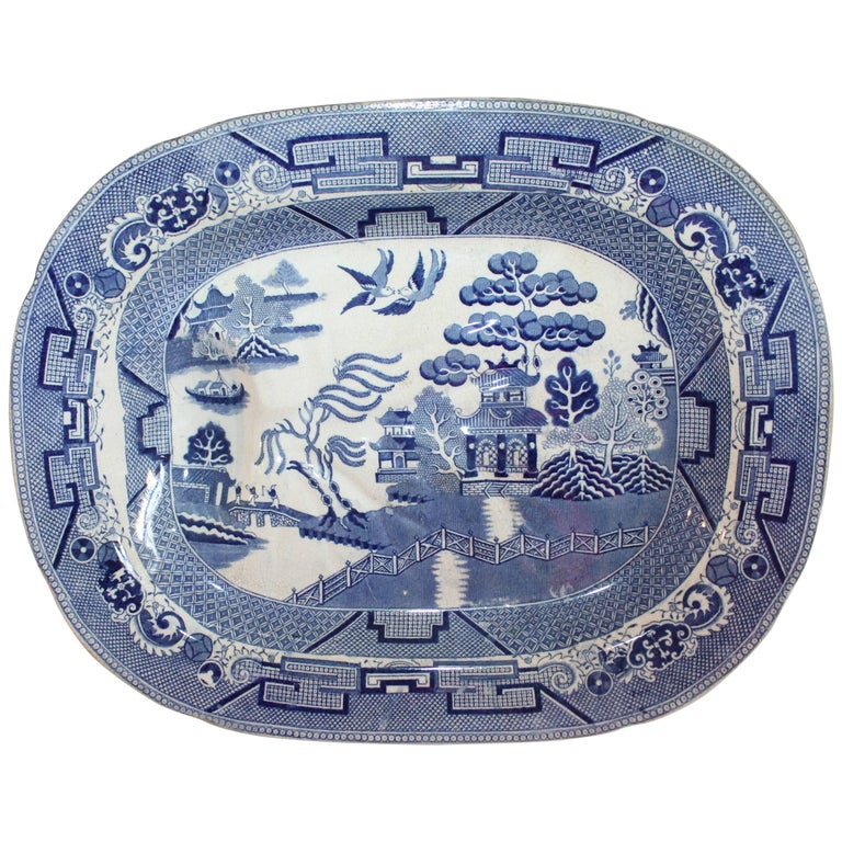 English Blue Willow 19th Century Meat Platter Monumental Size For Sale