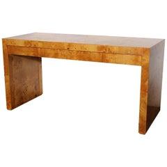 Stylish Milo Baughman Style Midcentury Burlwood Desk