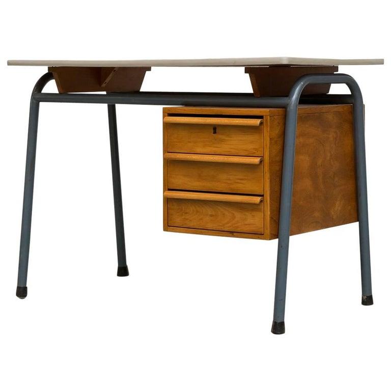Midcentury Dutch School Desk with Blue Metal Legs