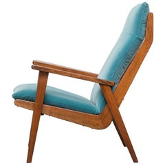 Robert Parry Teak and Velvet Lounge Chair