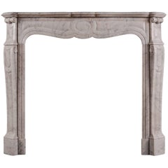 Antique French Louis XVI Style Carrara Marble Fireplace Surround