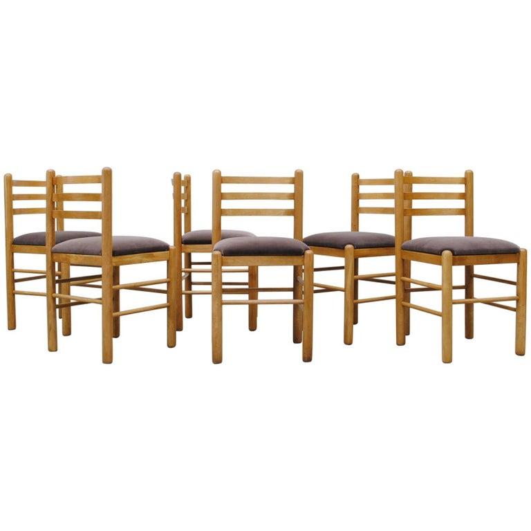 Ate van Apeldoorn Style Ladder Back Dining Chairs in Grey Velvet