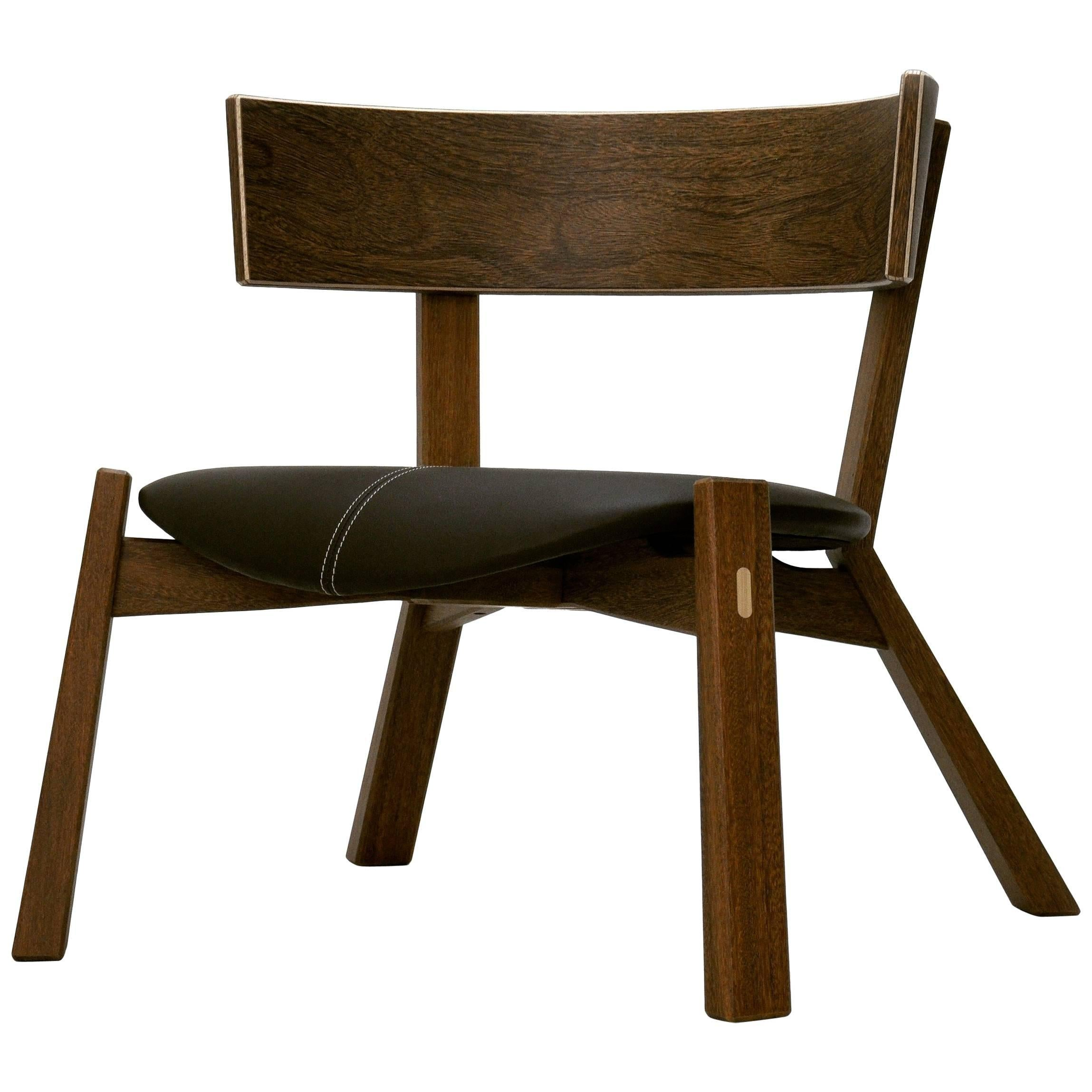 Armchair Toro On Tropical Brazilian Hardwood And Natural Leather For Sale