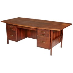 1950s Danish-Style Walnut Wood Executive Desk