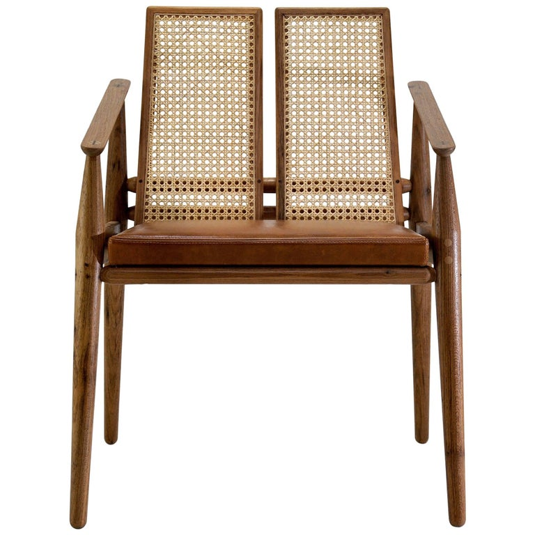 Chair Dalila on Tropical Brazilian Hardwood and Natural Leather For Sale