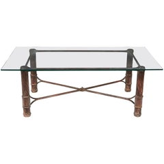 Handmade Iron and Glass Top Coffee Table