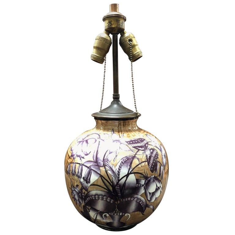 Italian Gio Ponti for Richard Ginori Ceramic Lamp For Sale