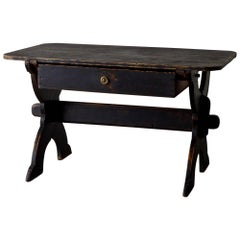 Desk Swedish 19th Century Black Rustic Sweden