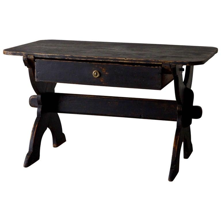 Desk Swedish 19th Century Black Rustic Sweden For Sale