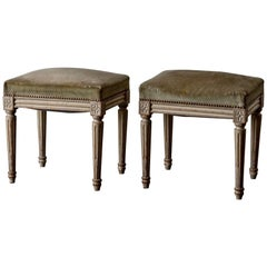 Stools Pair of Louis XVI Period Green Cream France