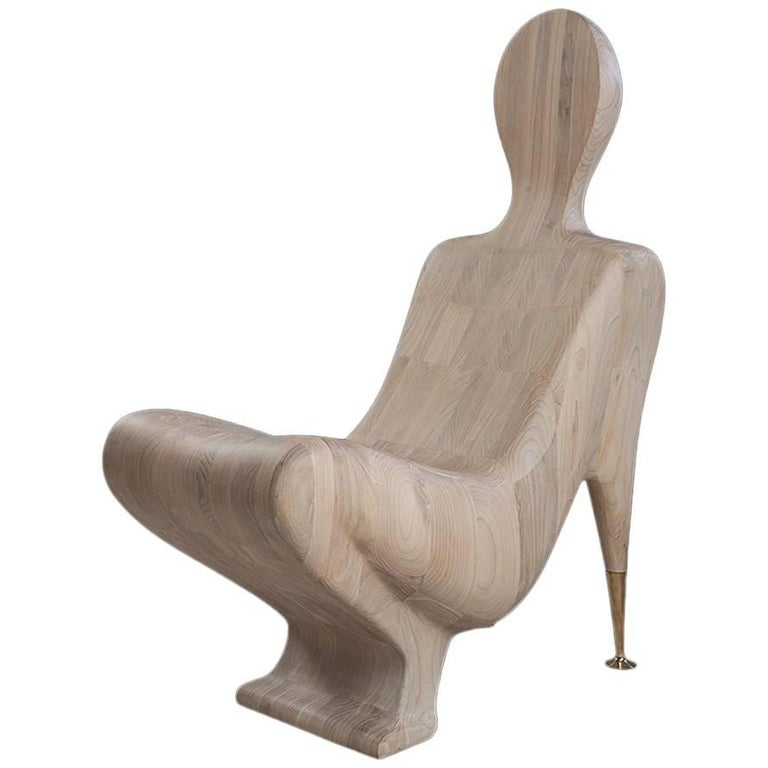 Human Wood Chair in Solid Mahogany Wood