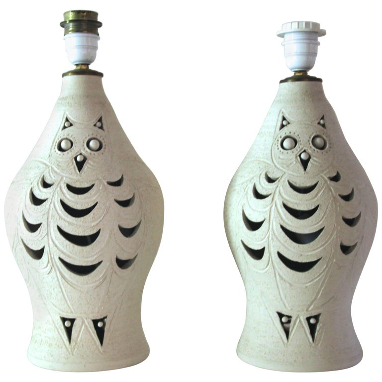 Georges Pelletier, Pair of Table Lamp, Signed, France, circa 1970