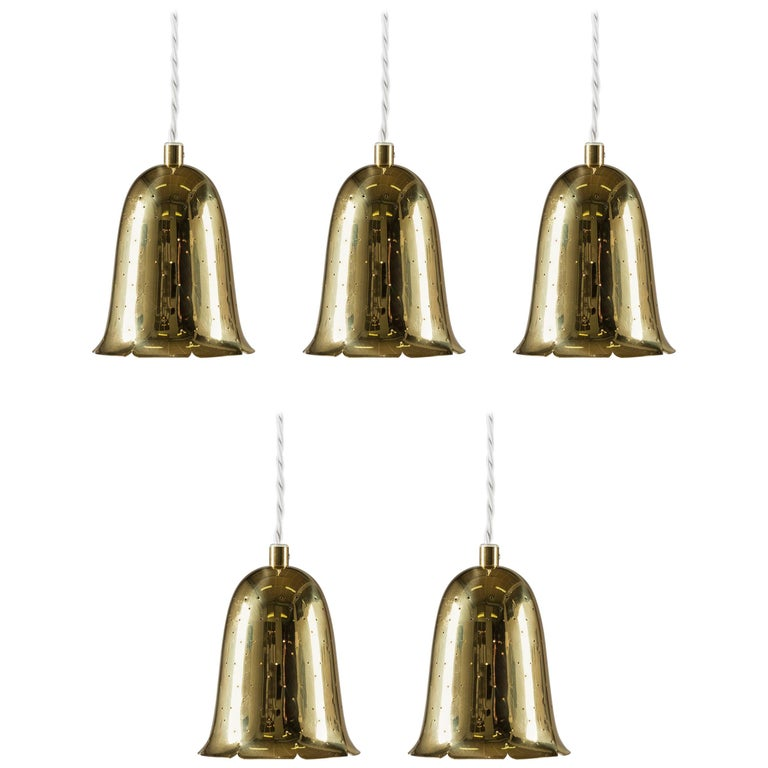 Swedish Mid Century Pendants in Perforated Brass by Boréns