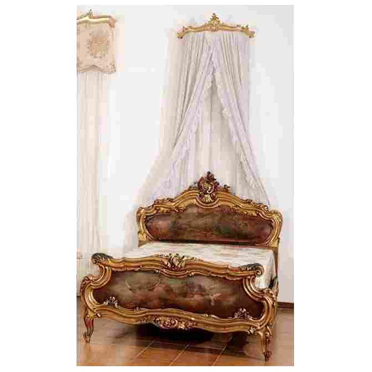 Giltwood Rococo Style French Bed with Painted Panels