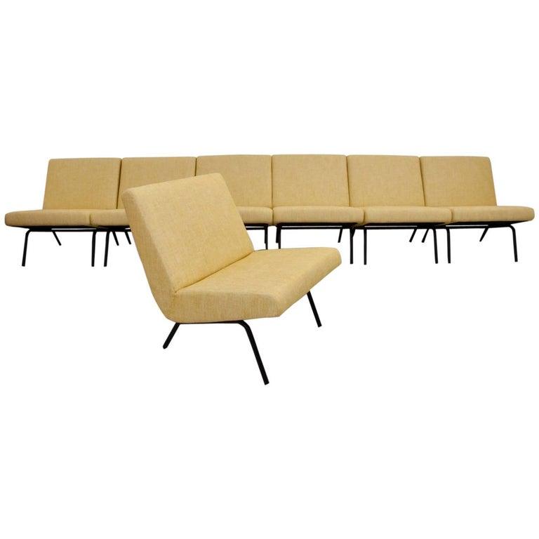 One of Seven Joseph Andre Motte Slipper Chairs 743 for Steiner, France, 1950s