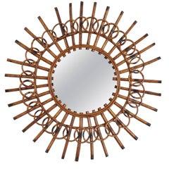 1960s French Riviera Mid-Century Modern Rattan Sunburst Mirror Framed by Circles