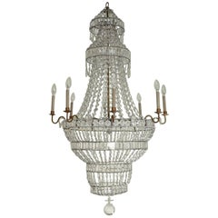Large Empire Eight Light Cut-Crystal Chandelier
