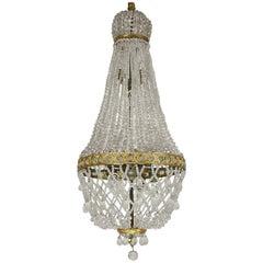 Feiner Französischer Zeltförmiger Taschen Kronleuchter aus Geschliffenem Glas im Empire Stil