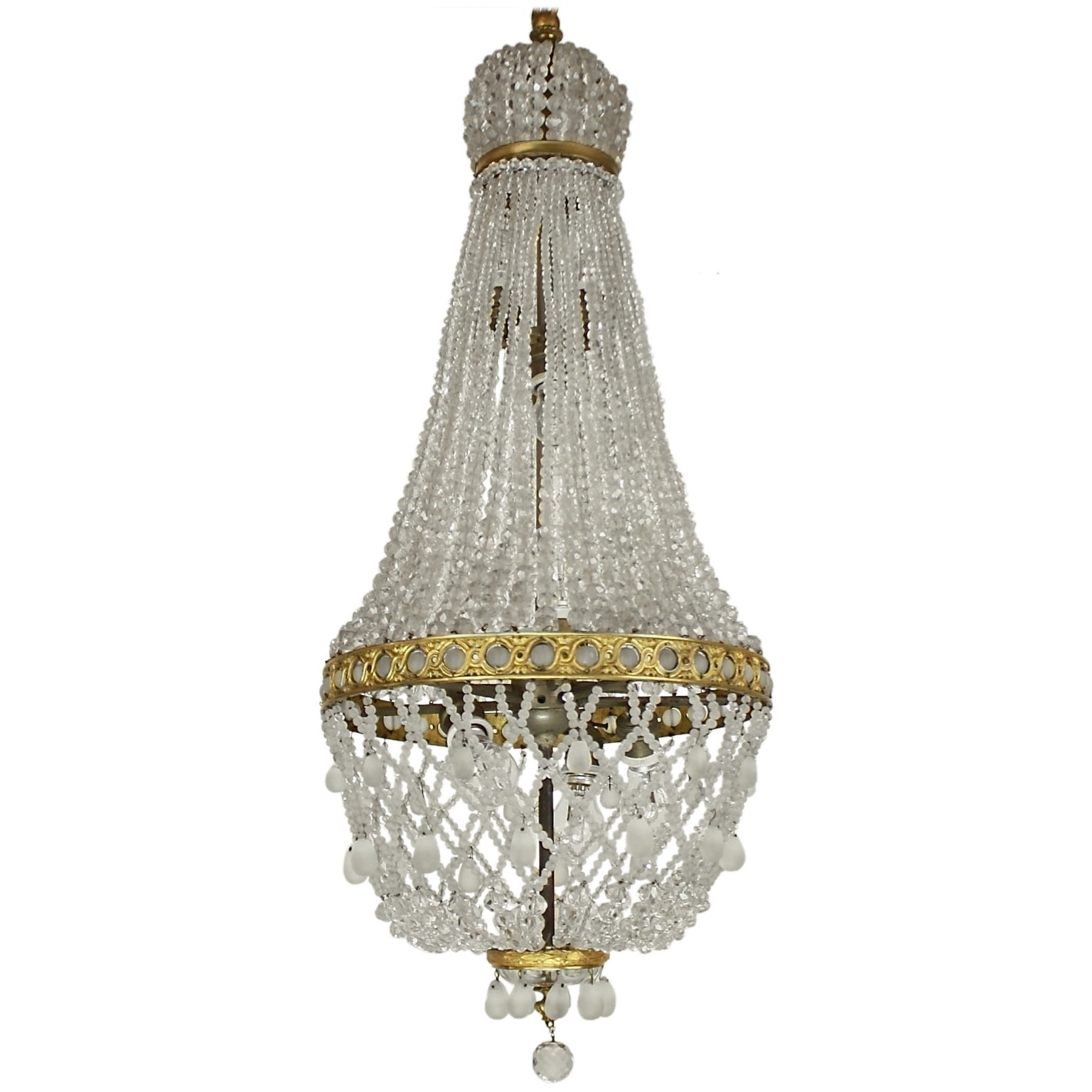 Fine French Empire Style Cut-Crystal Tent and Bag Chandelier