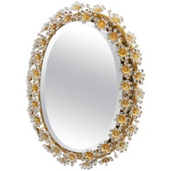 Round Gilt Faceted Crystal Glass Flower Backlit Mirror by Palwa, Germany