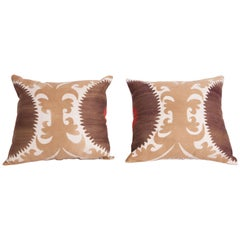 Pillow Cases Fashioned from an Early 20th Century Uzbek Samarkand Suzani
