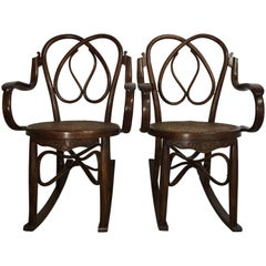 19th Century Pair of Bentwood Rocking Chairs in Style of Jacob & Josef