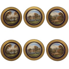 Set of Six Sèvres Porcelain Cabinet Plates with Varying French Castle Scenes
