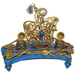 Russian Antique Desk Set in Guilloche Enamel with Diamonds