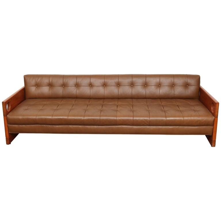 "Brazilian Sergio Rodrigues Leather ""Cris Sofa"""