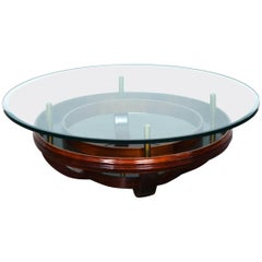 Brazilian 1960's Round Glass Top Coffee Table