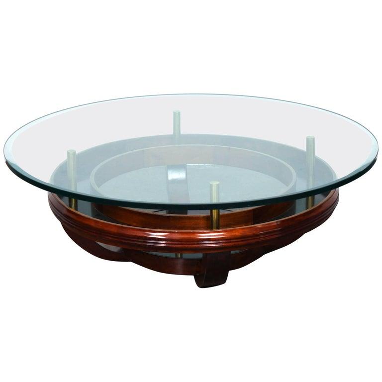 Brazilian 1960's Round Glass Top Coffee Table