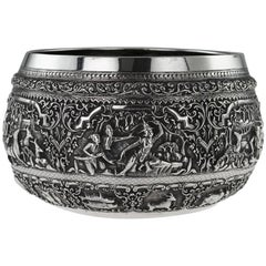 Antique Burmese Solid Silver Thabeik Bowl, Rangoon, circa 1880