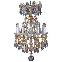 Late 19th Century Cut-Crystal and Gilt Bronze Chandelier