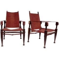 Pair of Safari Armchairs, Model of Kaare Klint, circa 1960