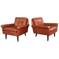 Pair 1960s Danish Leather Lounge Chairs